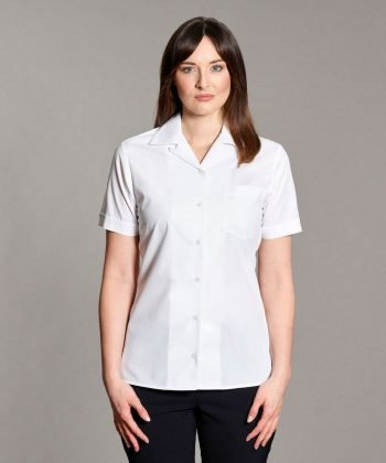 Williams Womens Revere Collar Blouse White Colour Short Sleeve
