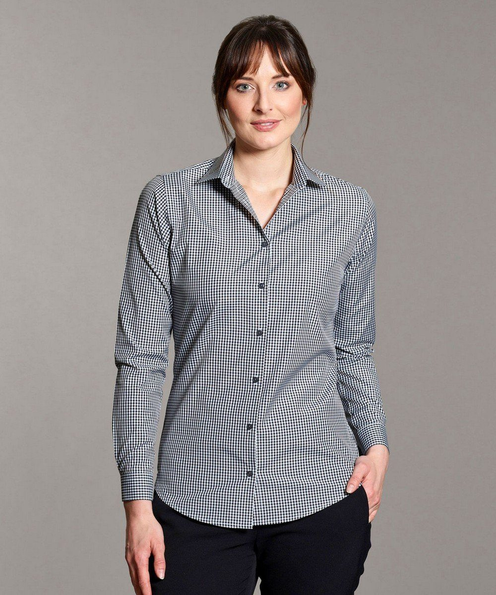 PPG Workwear Disley Womens Gingham Check Blouse Long Sleeve