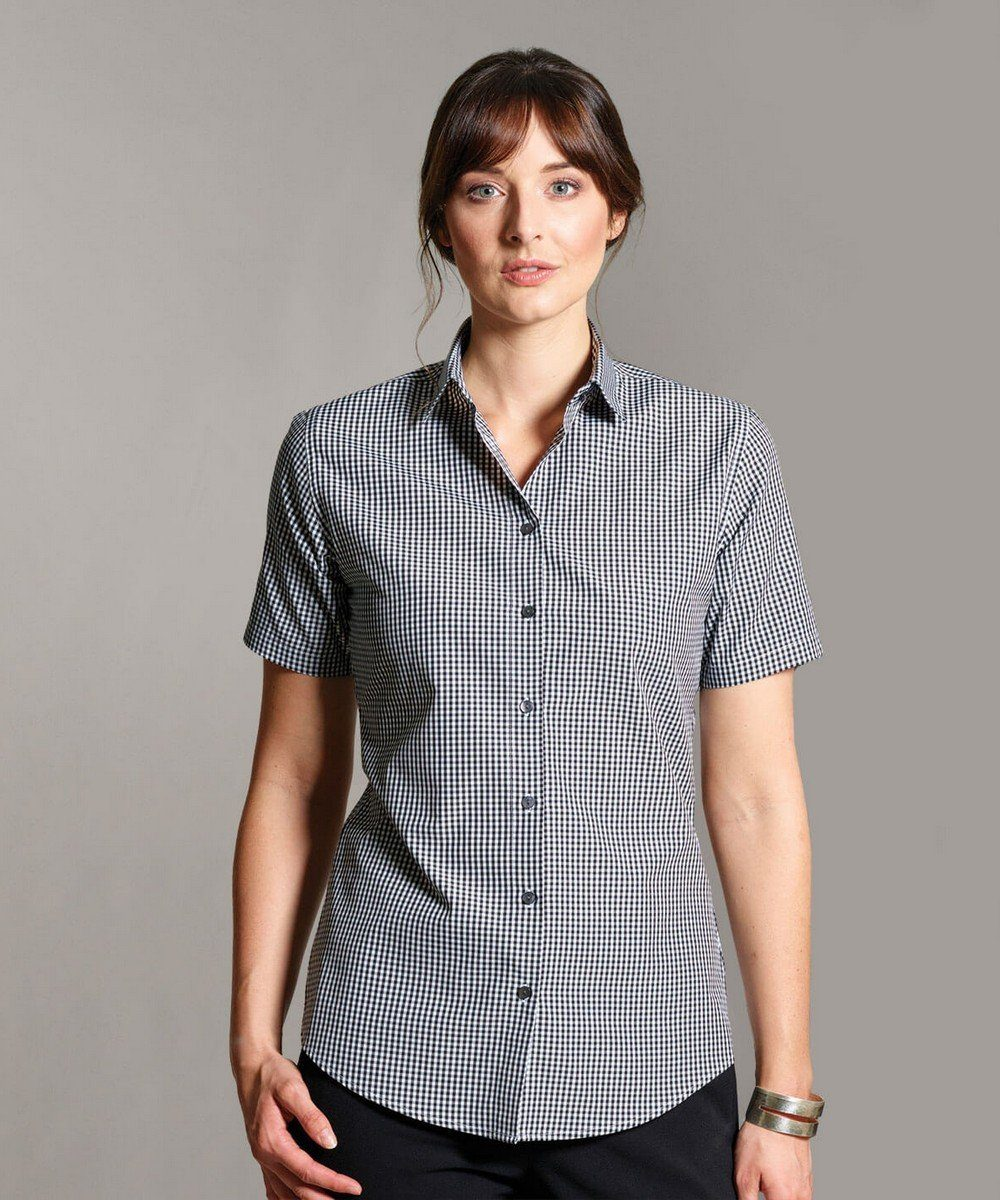 PPG Workwear Disley Womens Gingham Check Blouse Short Sleeve