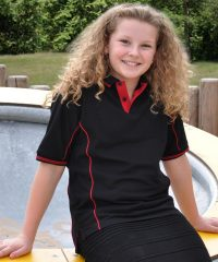 PPG Workwear Papini Junior Elite Polo Shirt Black and Red Colour