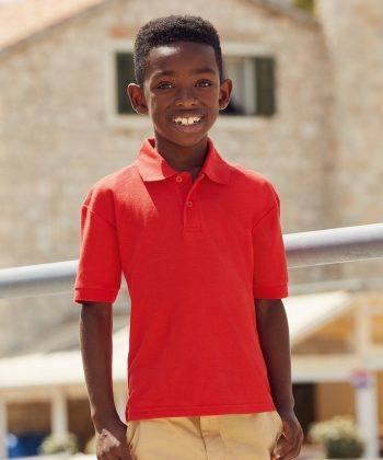 PPG Workwear Fruit of the Loom Childrens Pique Polo Shirt 63417 Red Colour
