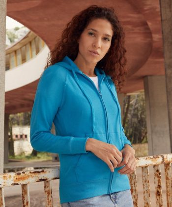 PPG Workwear Fruit Of The Loom Lady-Fit Lightweight Hooded Sweat Jacket 62150 Azure Colour