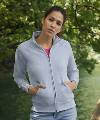 Fruit Of The Loom Premium Lady-Fit Sweat Jacket 62116 Heather Grey Colour