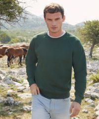 PPG Workwear Fruit Of The Loom Classic Raglan Sweatshirt 62216 Bottle Green Colour