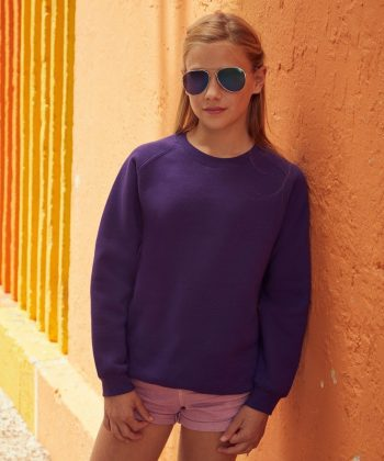 PPG Workwear Fruit Of The Loom Kids Premium Raglan Sweatshirt 62033 Purple Colour