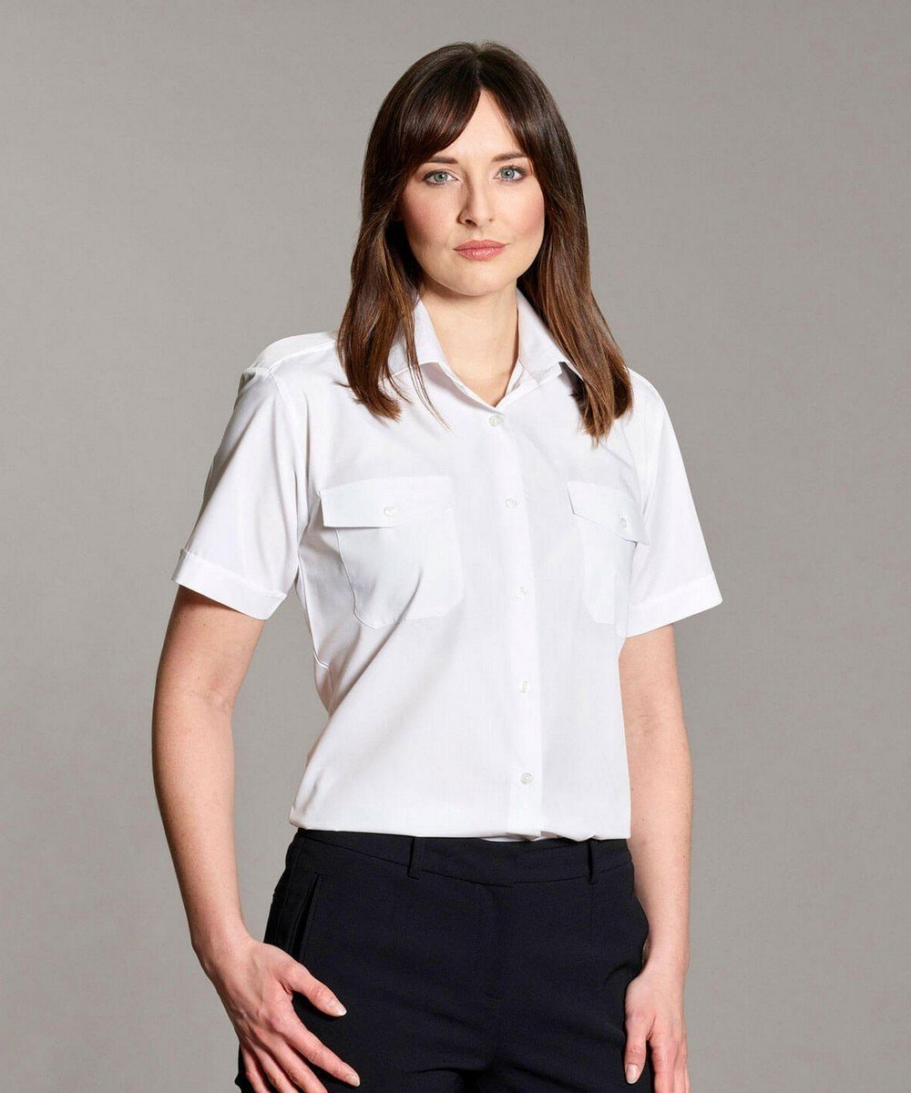 PPG Workwear Williams Womens Classic Pilot Shirt White Colour Short Sleeve