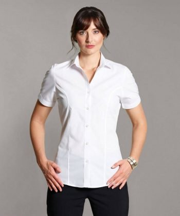 PPG Workwear Disley Womens Stripe Blouse White Colour Short Sleeve