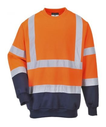 PPG Workwear Portwest Two Tone Hi-Vis Sweatshirt Orange and Navy Blue Colour B306