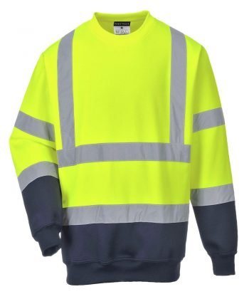 Portwest Two Tone Hi-Vis Sweatshirt Yellow and Navy Blue Colour B306