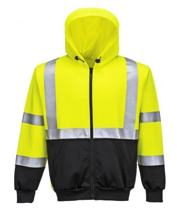 Portwest Hi Vis Two-Tone Zipped Hoody B315 Yellow and Black Colour