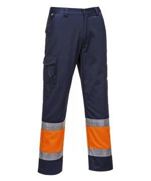 Portwest Hi Vis Two Tone Combat Trousers Navy Blue and Orange Colour E049