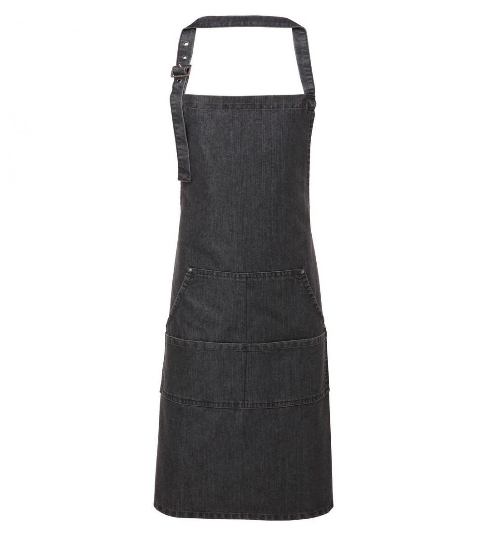 PPG Workwear Premier Jeans Stitch Denim Bib Apron PR126 Black Denim Colour