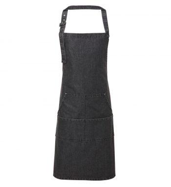 PPG Workwear Premier Jeans Stitch Denim Bib Apron PR126 Black Denim Colour
