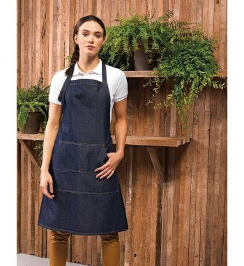 Premier Jeans Stitch Denim Bib Apron PR126 Indigo Denim Colour
