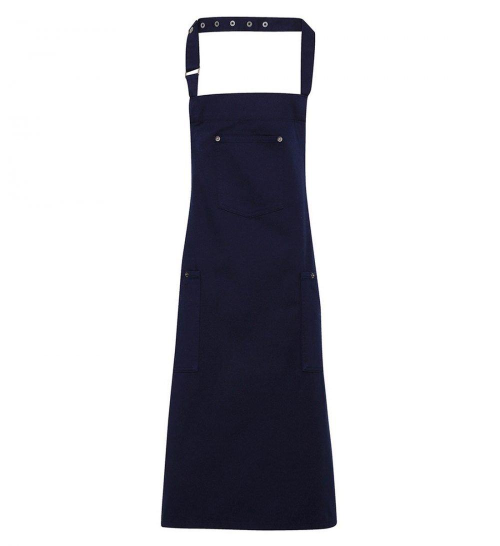 Premier Cotton Chino Bib Apron PR132 Navy Blue Colour