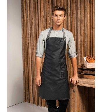PPG Workwear Premier District Waxed Look Denim Bib Apron PR134 Black Colour