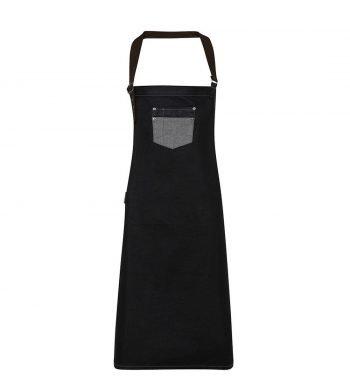 PPG Workwear Premier Division Waxed Look Bib Apron PR136 Black Denim Colour