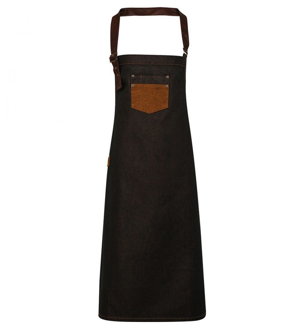 PPG Workwear Premier Division Waxed Look Bib Apron PR136 Black Denim and Tan Colour