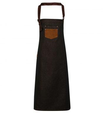 PPG Workwear Premier Division Waxed Look Bib Apron PR136 Black Denim and Tan Colour