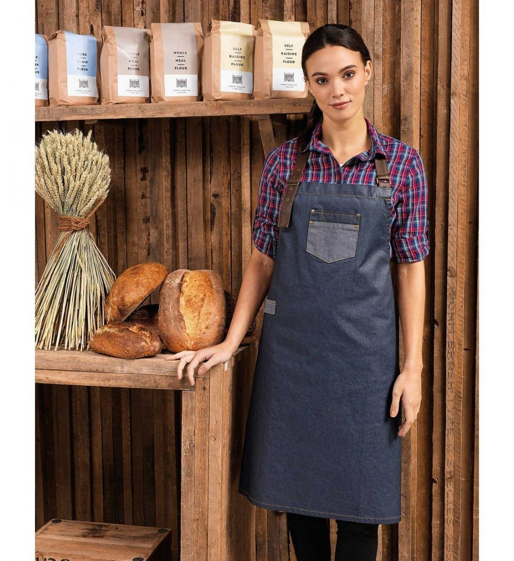 Premier Division Waxed Look Bib Apron PR136 Indigo Denim Colour