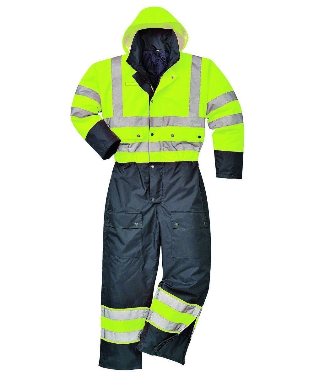 Portwest Hi Vis Contrast Coverall Lined Yellow and Black Colour S485