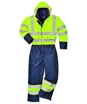 PPG Workwear Portwest Hi Vis Contrast Coverall Lined Yellow and Navy Colour S485