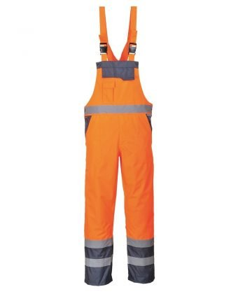 PPG Workwear Portwest Waterproof Contrast Bib/Brace Unlined Orange and Navy ColourS488