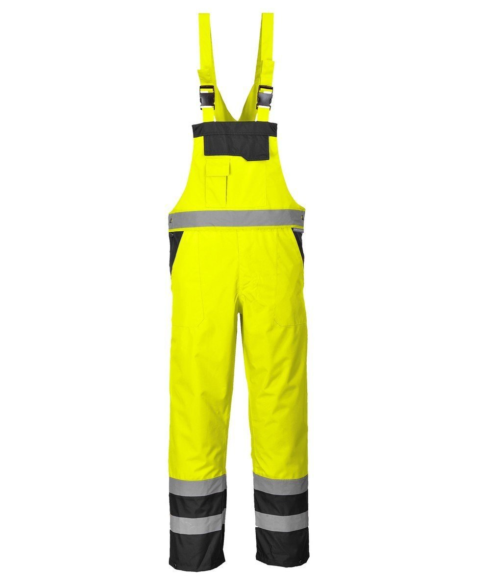 Portwest Waterproof Contrast Bib/Brace Unlined Yellow and Black Colour S488