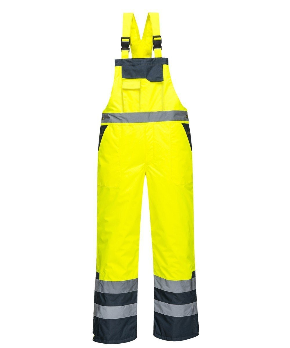 Portwest Waterproof Contrast Bib/Brace Lined Yellow and Navy Colour S489