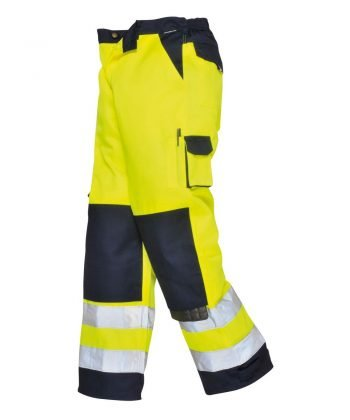 PPG Workwear Portwest Texo Hi Vis Trousers Yellow and Navy Blue Colour TX51