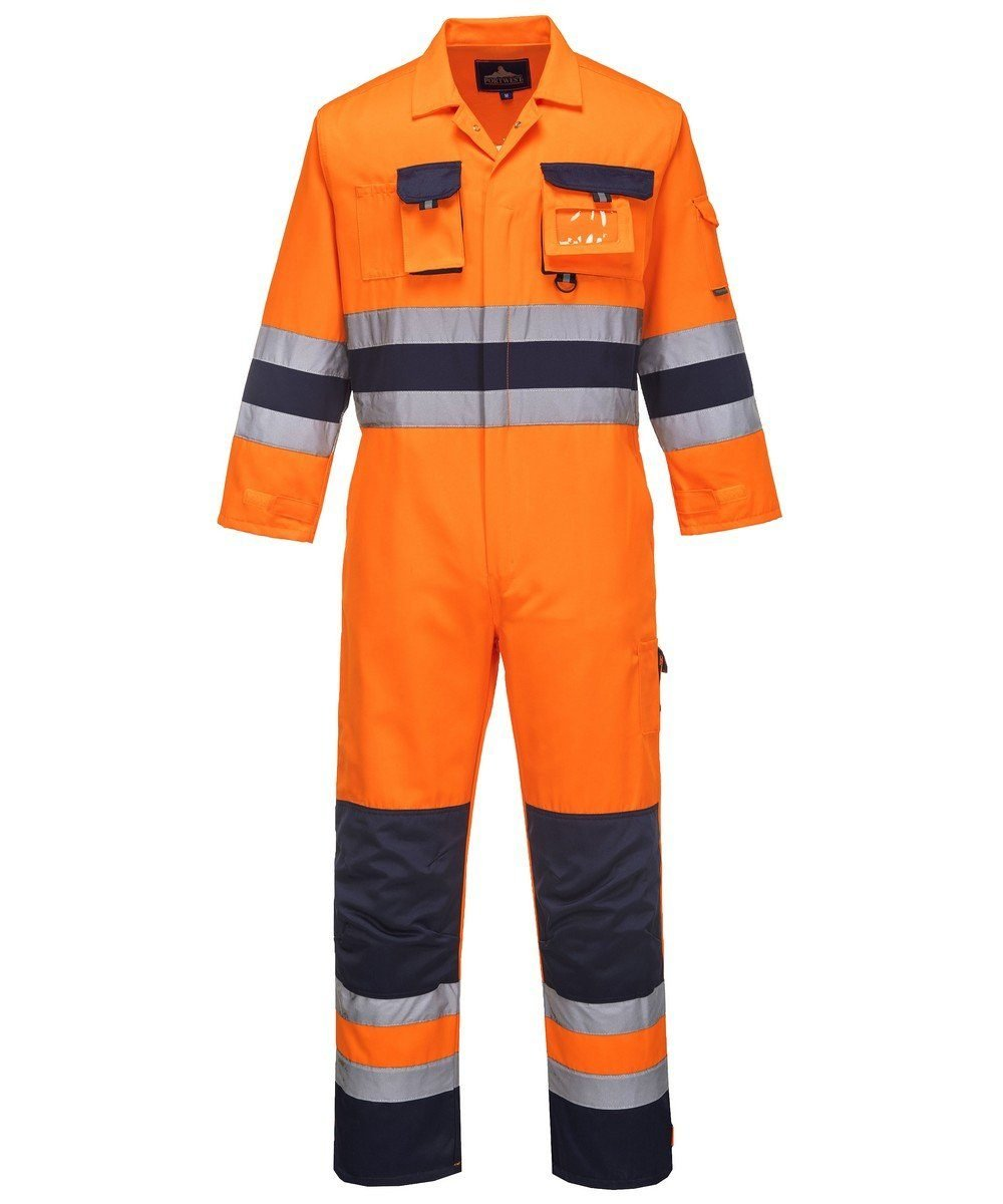 PPG Workwear Portwest Texo Hi Vis Coverall Orange and Navy Colour TX55