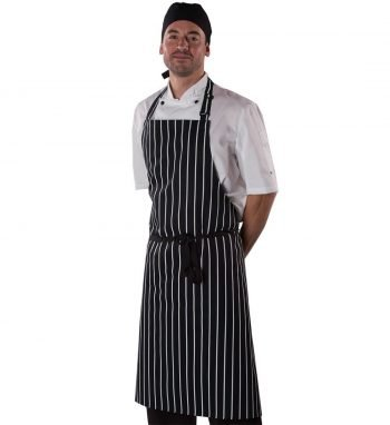 Dennys Cotton Stripe Apron With Halter Adjuster DP85 Black with White Stripes Colour
