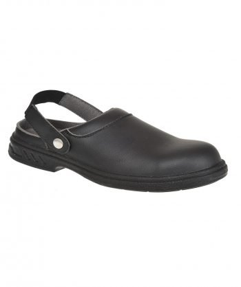 Portwest Steelite Safety Clog FW82 Black Colour with Heel Strap