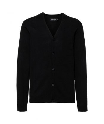 PPG Workwear Russell Collection Mens V-Neck Knitted Cardigan 715M Black Colour