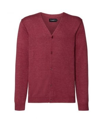 Russell Collection Mens V-Neck Knitted Cardigan 715M Cranberry Marl Colour