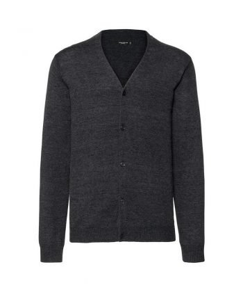 Russell Collection Mens V-Neck Knitted Cardigan 715M Charcoal Marl Colour