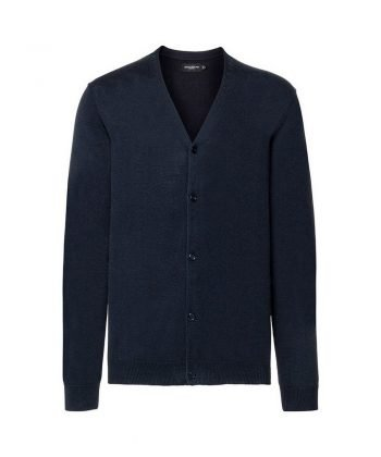 Russell Collection Mens V-Neck Knitted Cardigan 715M French Navy Colour