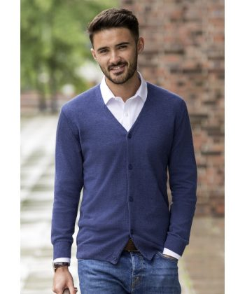 Russell Collection Mens V-Neck Knitted Cardigan 715M Denim Marl Colour