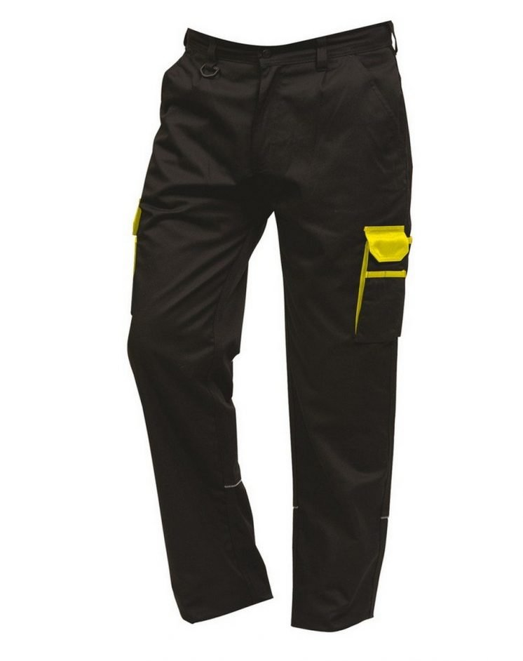 ORN Two Tone Contrast Combat Trousers 2580 Black Colour with Yellow Trim