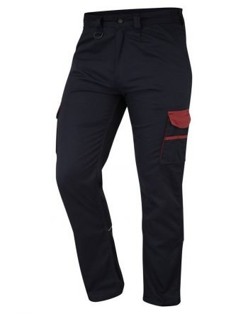 ORN Two Tone Contrast Combat Trousers 2580 Black Colour with Red Trim Front View