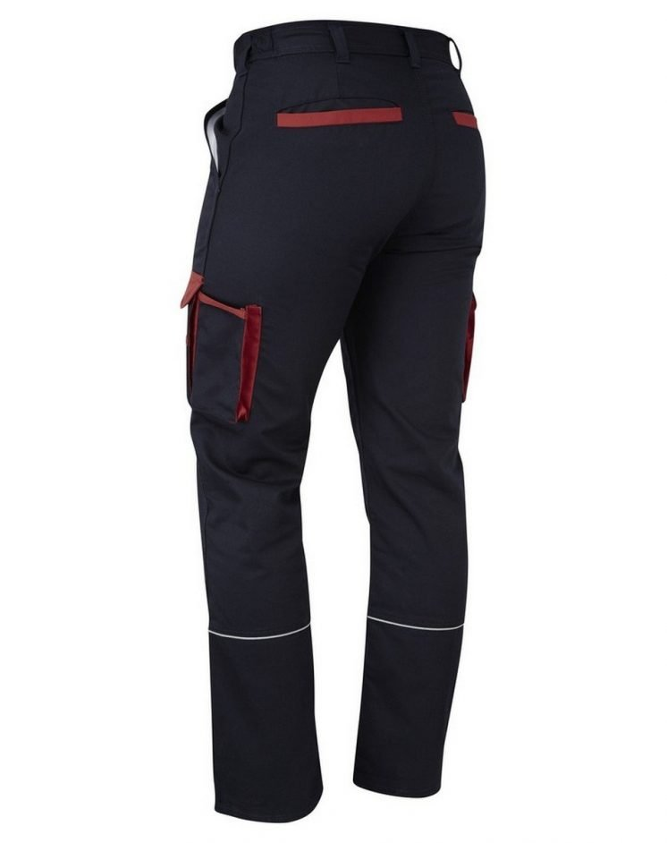 PPG Workwear ORN Two Tone Contrast Combat Trousers 2580 Black Colour with Red Trim Back View