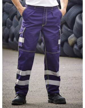 Yoko Hi Vis Cargo Trousers with Knee Pad Pockets HV018T/3M Navy Blue Colour