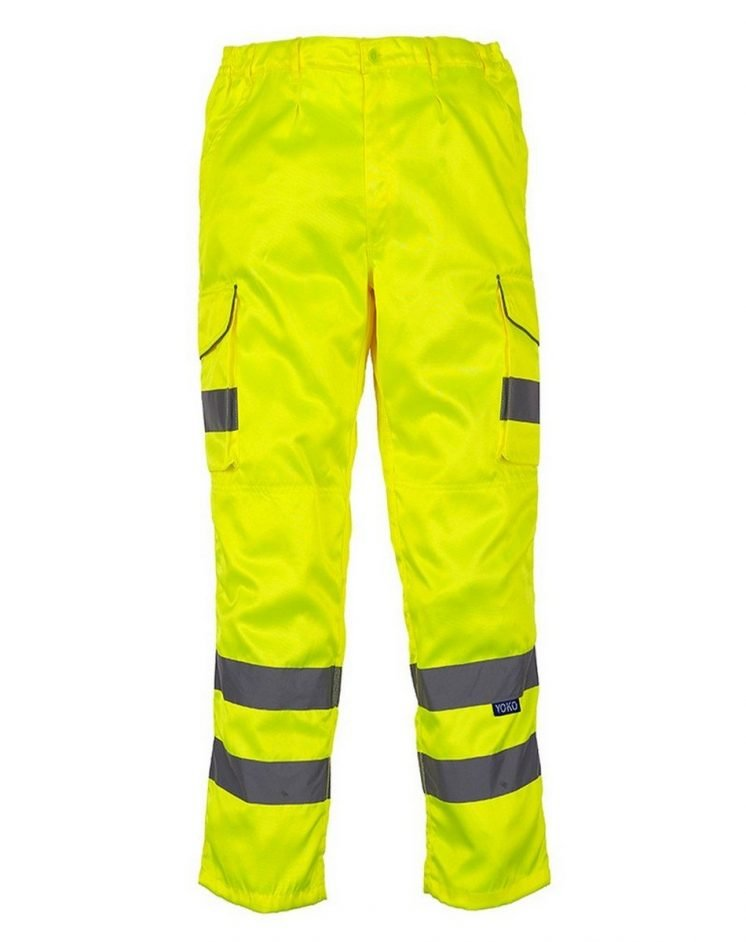 PPG Workwear Yoko Hi Vis Cargo Trousers with Knee Pad Pockets HV018T/3M Yellow Colour