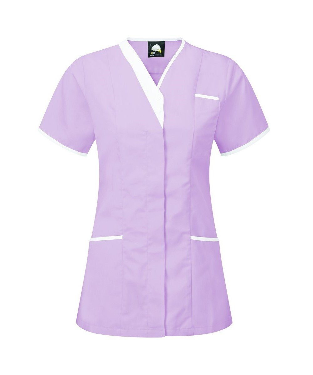 PPG Workwear Orn Tonia V-Neck Tunic 8200 Lilac Colour with White Trim