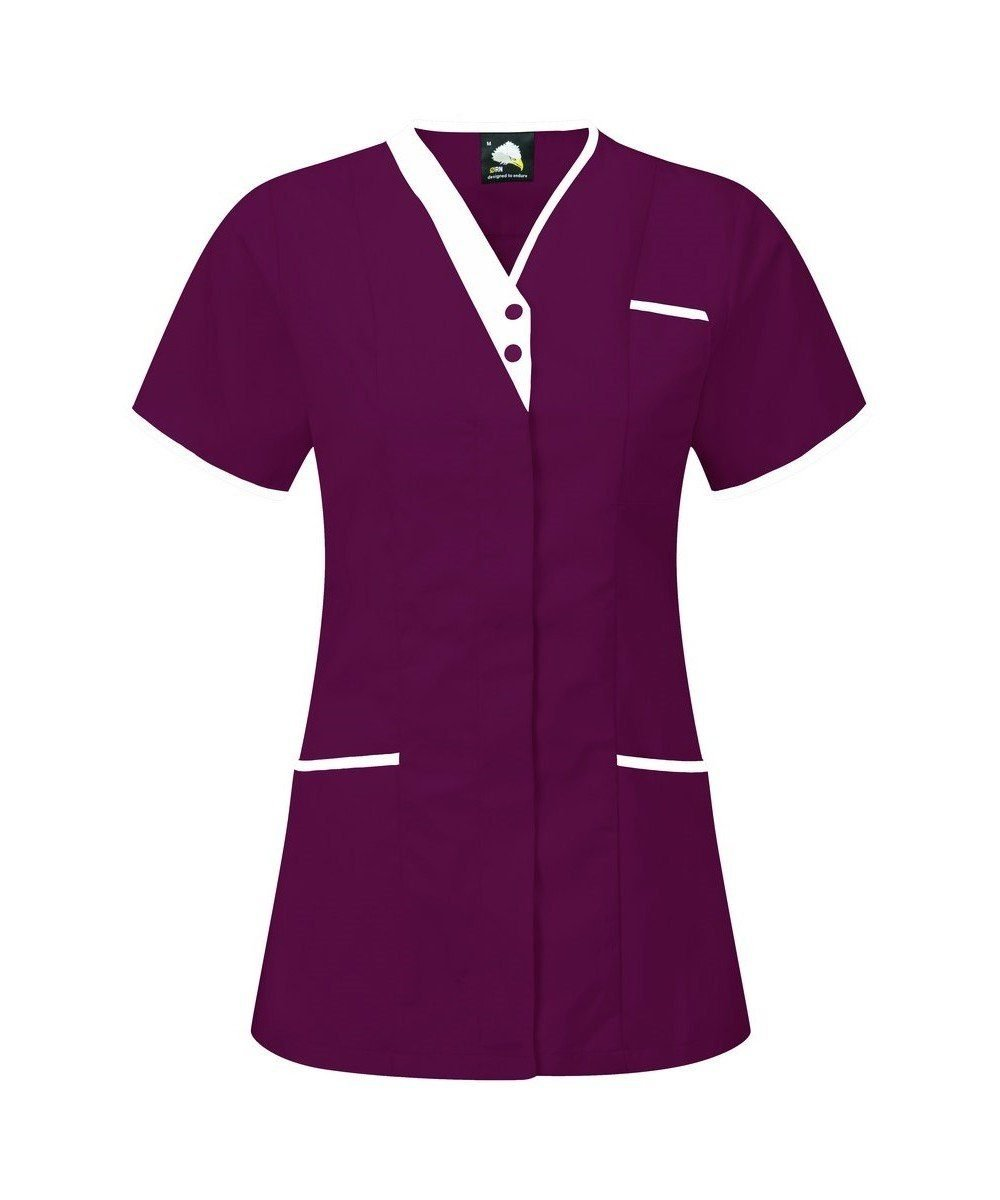 PPG Workwear Orn Tonia V-Neck Tunic 8200 Maroon Colour with White Trim