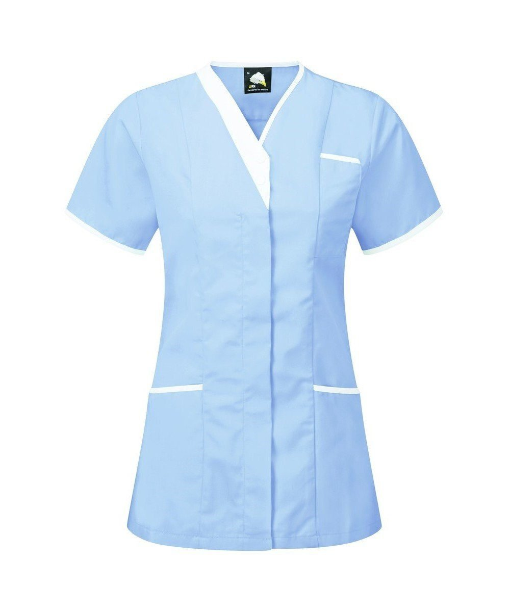 PPG Workwear Orn Tonia V-Neck Tunic 8200 Sky Blue Colour with White Trim