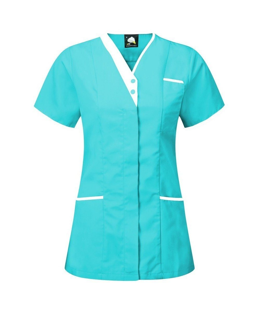 PPG Workwear Orn Tonia V-Neck Tunic 8200 Teal Colour with White Trim