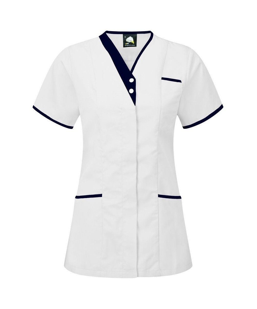 PPG Workwear Orn Tonia V-Neck Tunic 8200 White Colour with Navy Blue Trim