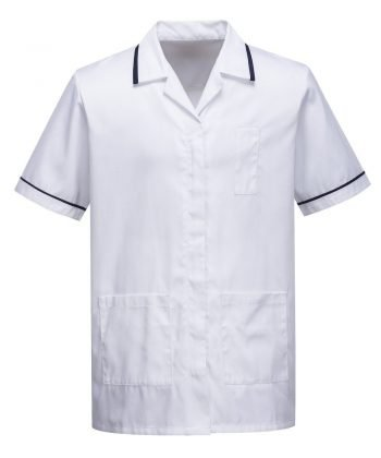 PPG Workwear Portwest Mens Healthcare Tunic C820 White Colour with Navy Blue Trim