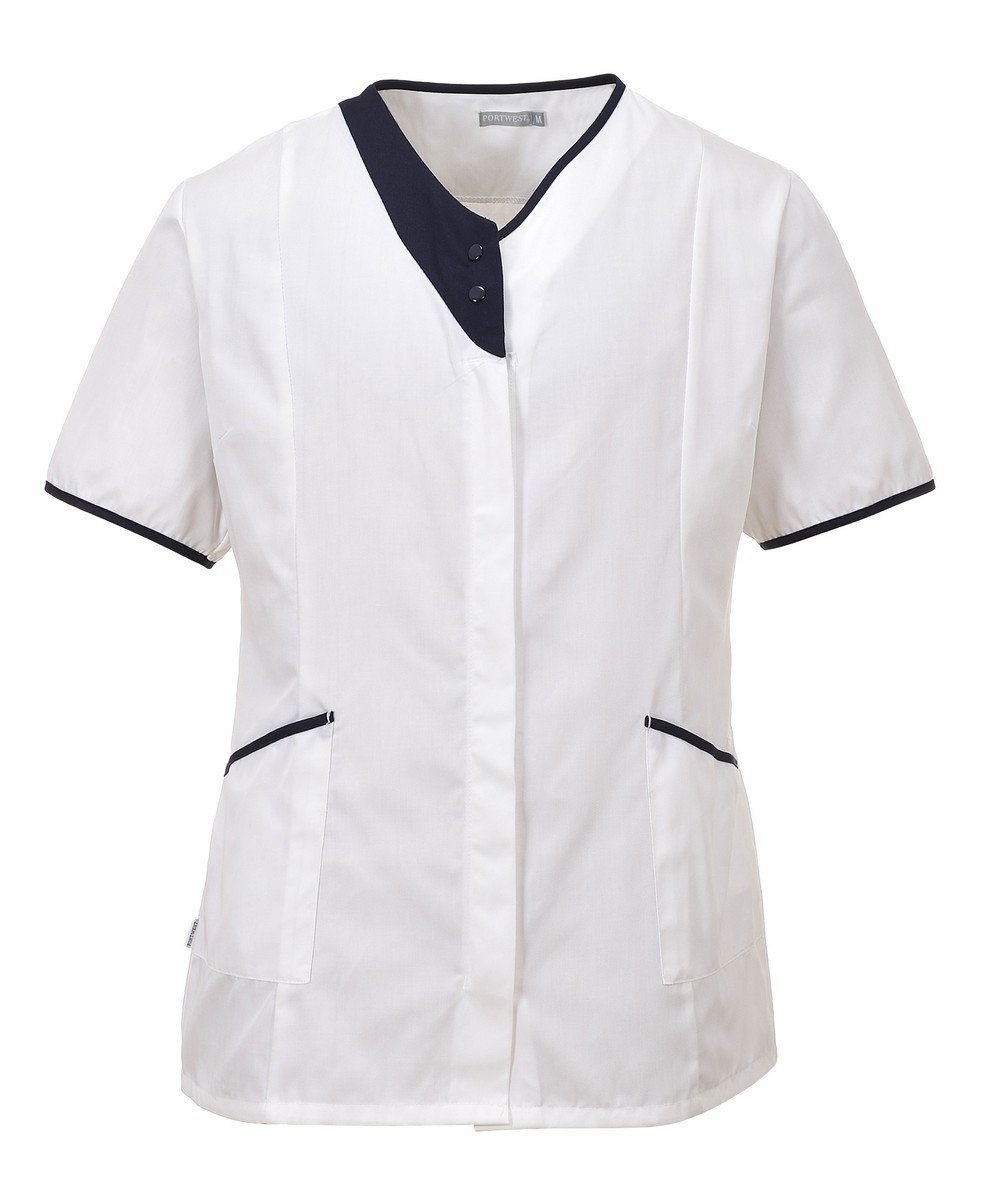 PPG Workwear Portwest Modern Healthcare Tunic LW13 White Colour with Navy Blue Trim